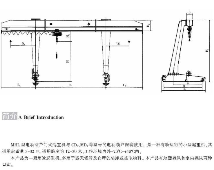 MHL型5-32吨电动葫芦门式起重机