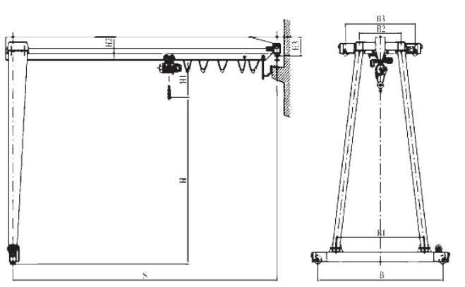 2-20吨MHB型电动葫芦半门式起重机
